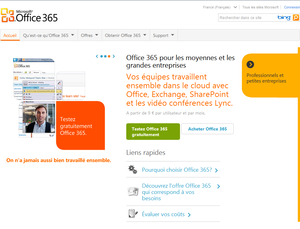 Accueil Office 365
